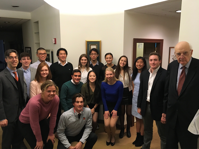 My freshman seminar class with Paul Volcker at his office in Rockefeller Center.