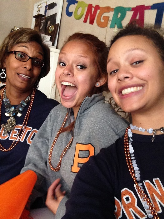 My mom, my sister and I celebrate my admission to Princeton.