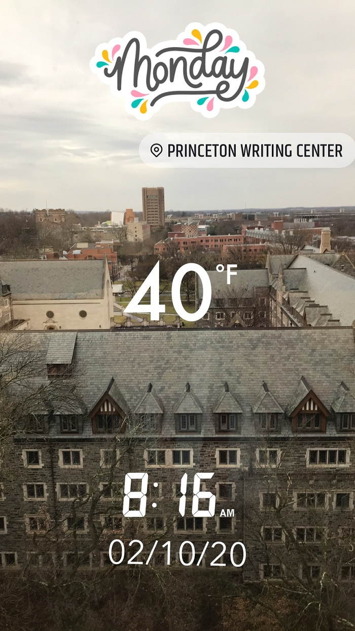 View from New South on a winter's day.  Text shows that it is 40 degrees Fahrenheit on Monday, February 10, 2020.