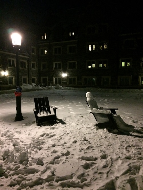 A lounging snowman.