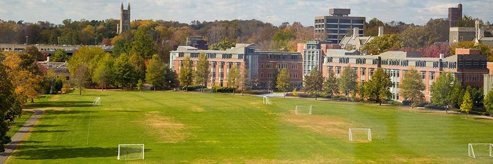 Poe Field and Butler Residential College in the background.