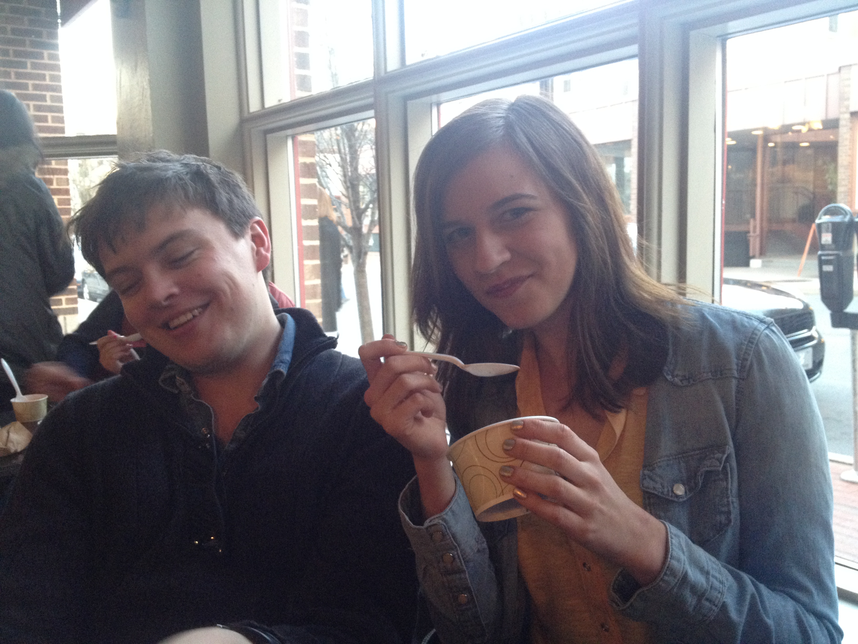 My friend Rachel attractively eating Halo Pub, and her boyfriend James, looking sort of out of it.