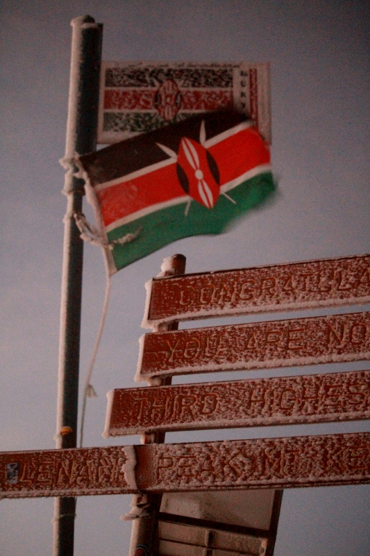 Kenyan flag at the summit of Pt. Lenana