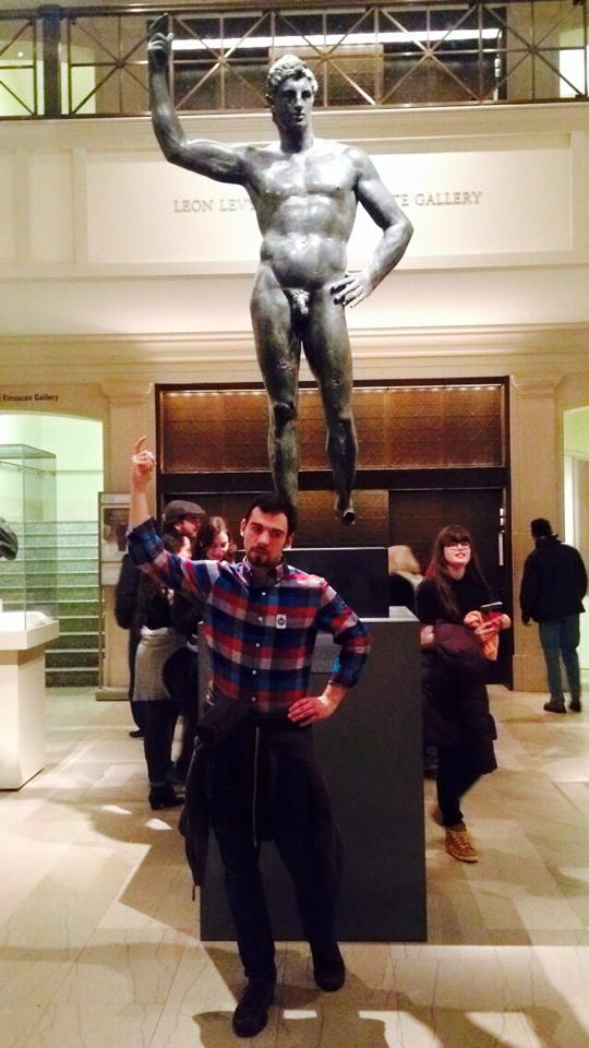 Jake and a Greek statue.