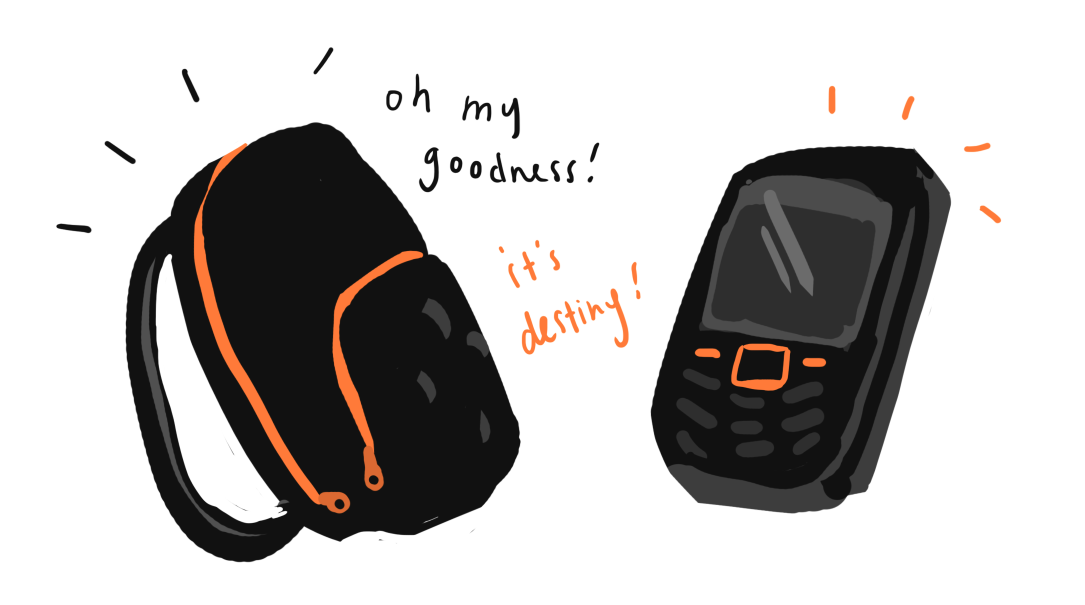black and orange backpack and phone