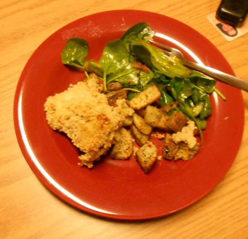 One night's dinner: chicken, potatoes, and salad