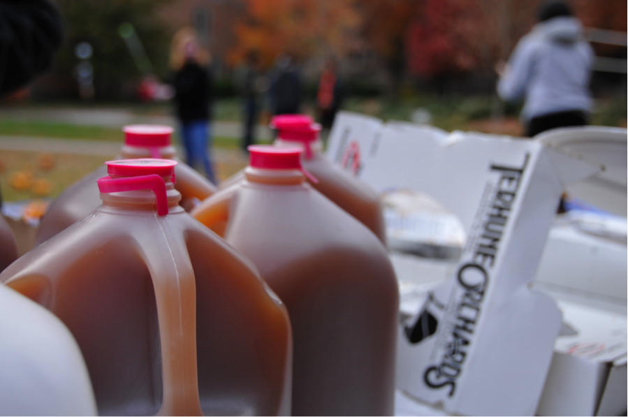 Apple cider set out for students.