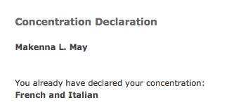 This is a photo of my official concentration declaration.