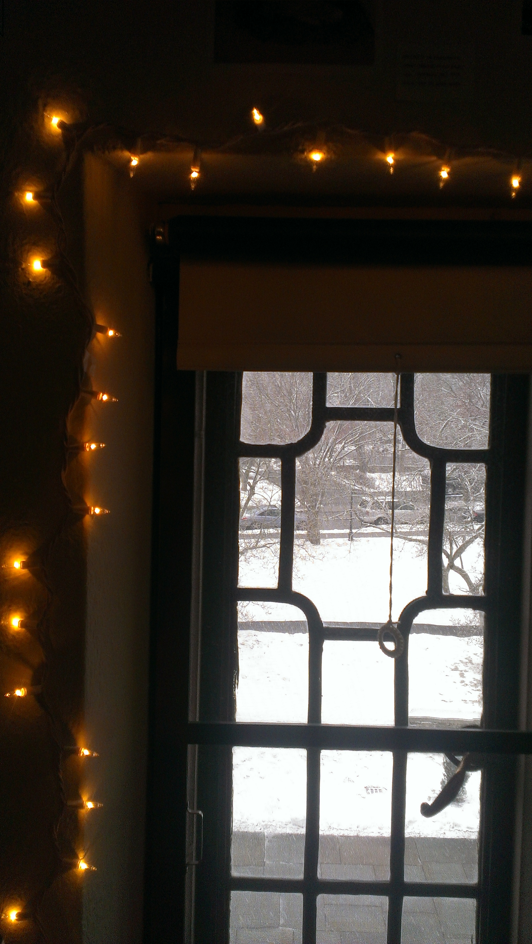 Window and string lights