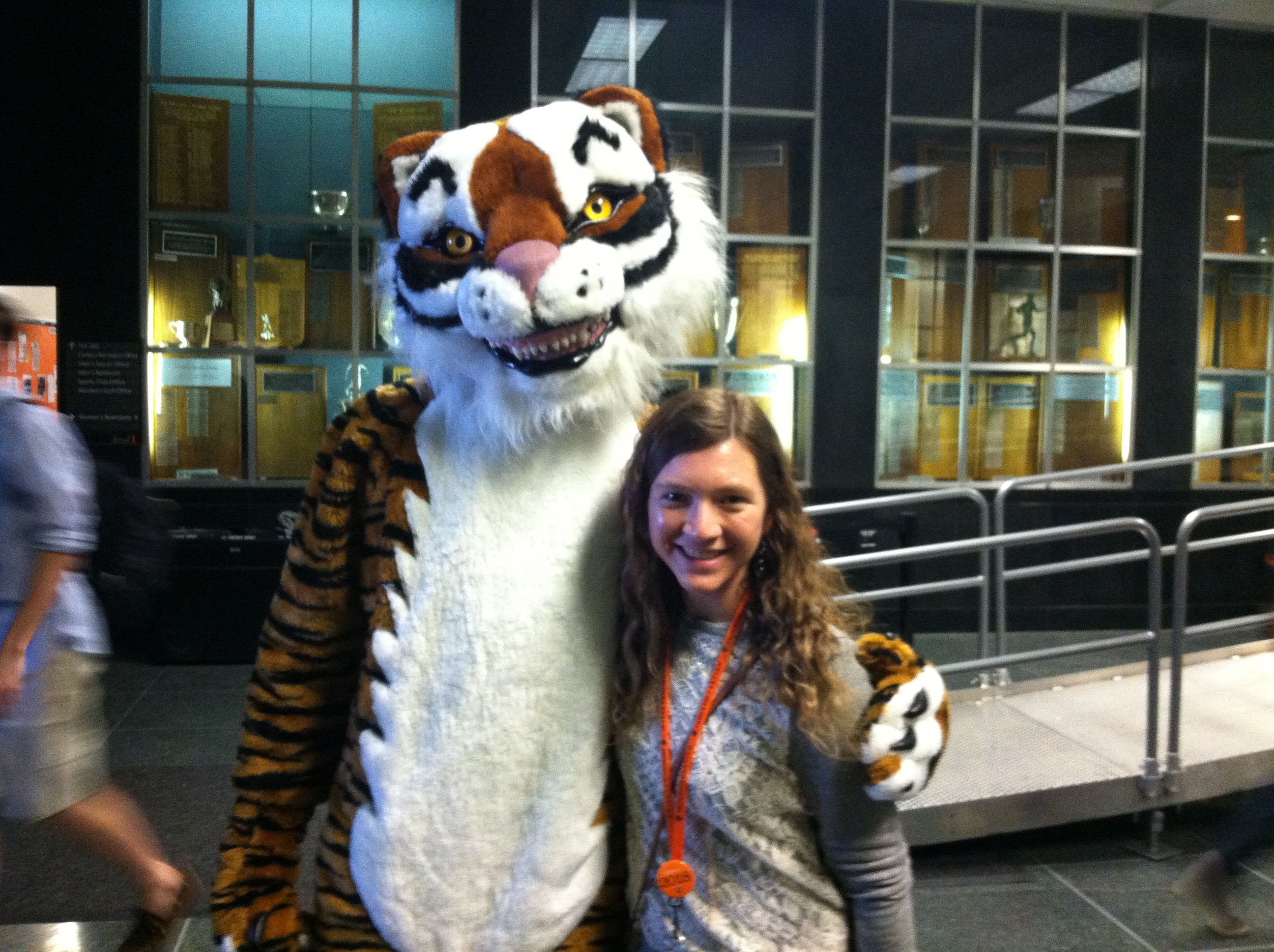Michelle with tiger mascot