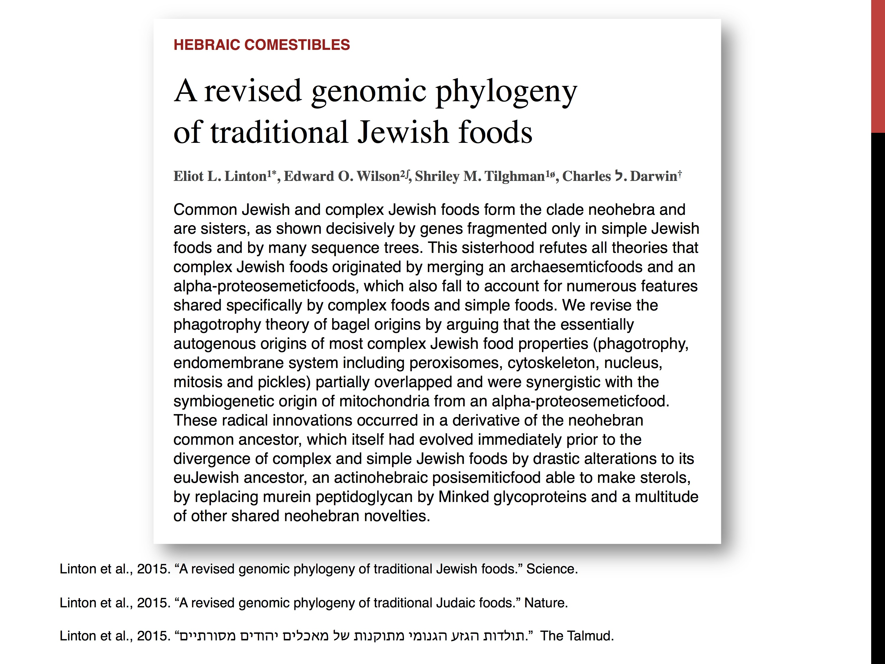 Jewish foods article