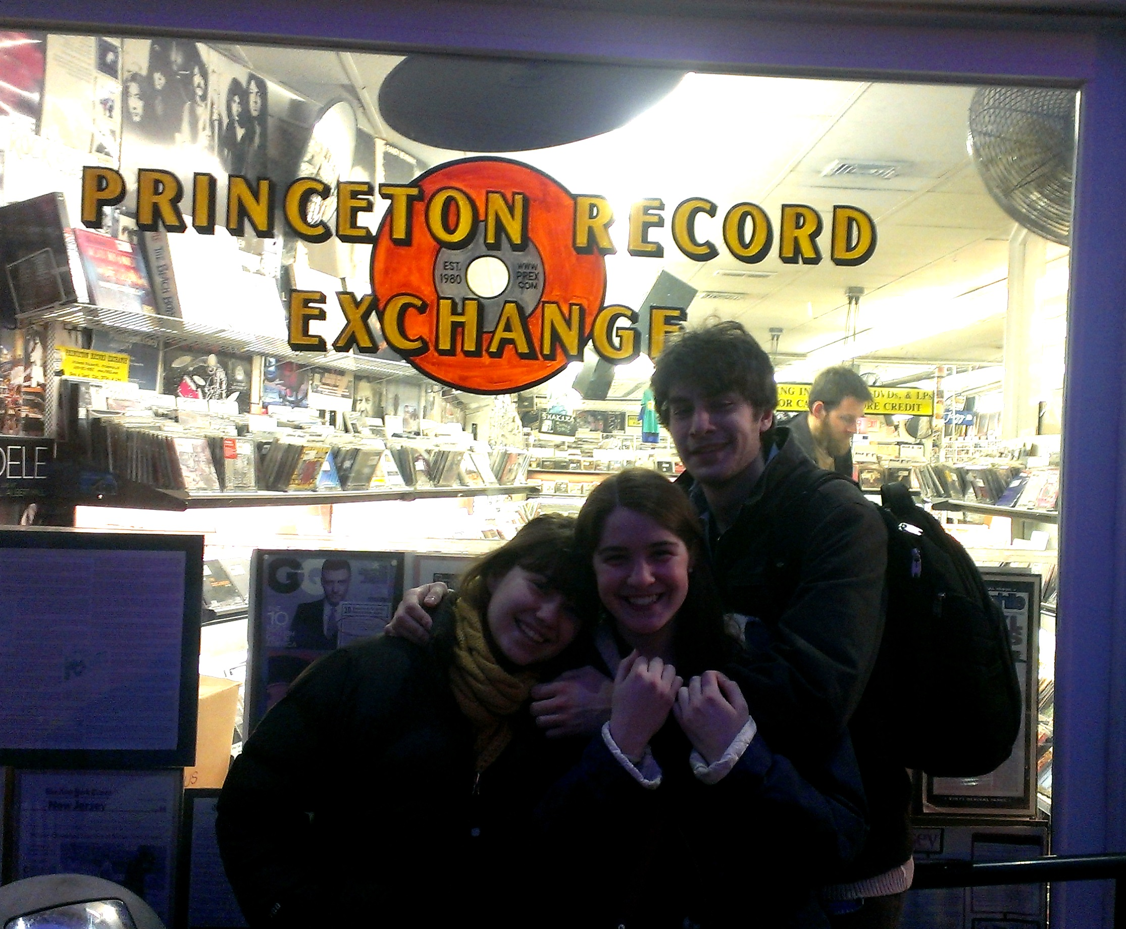 Amy, Colleen, and Chris outside Princeton Record Exchange