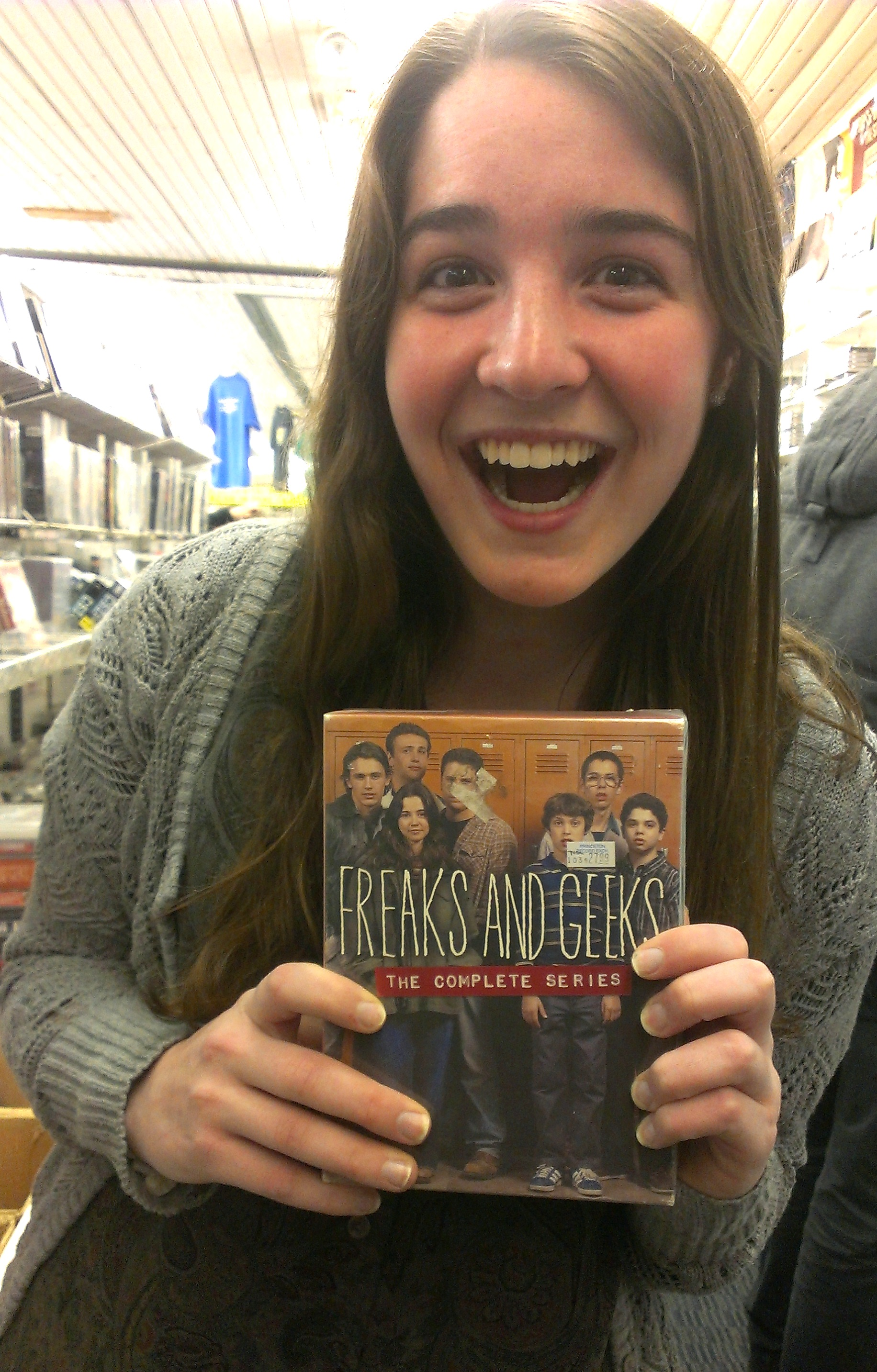 Colleen with Freaks and Geeks DVD