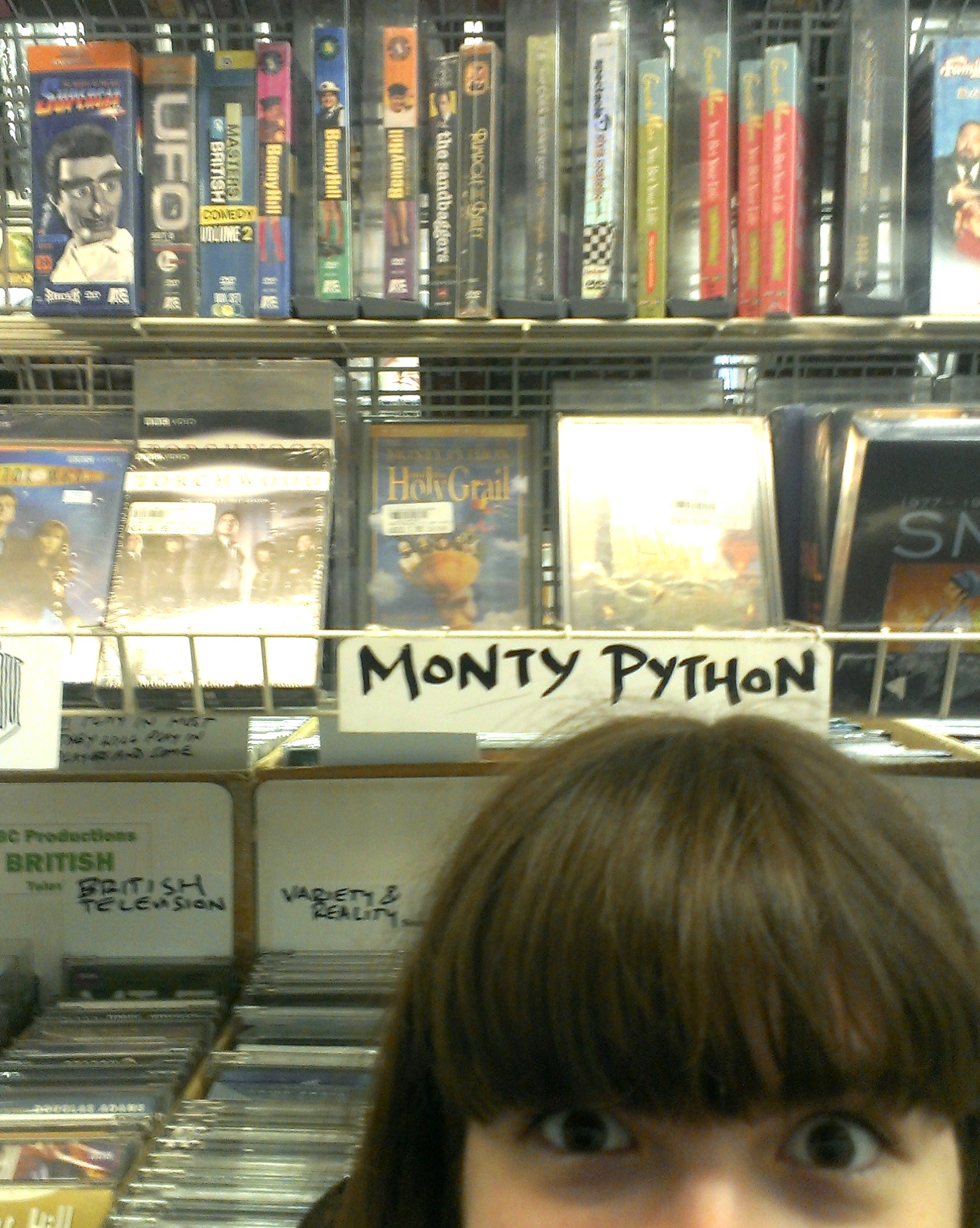 Lauren in the Monty Python section