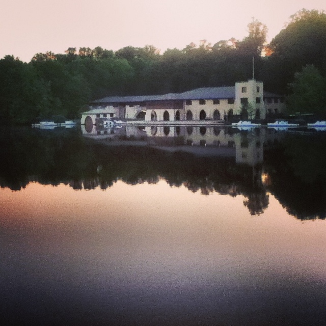 Image of the boathouse at sunset