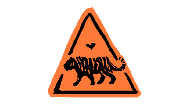 tiger construction sign
