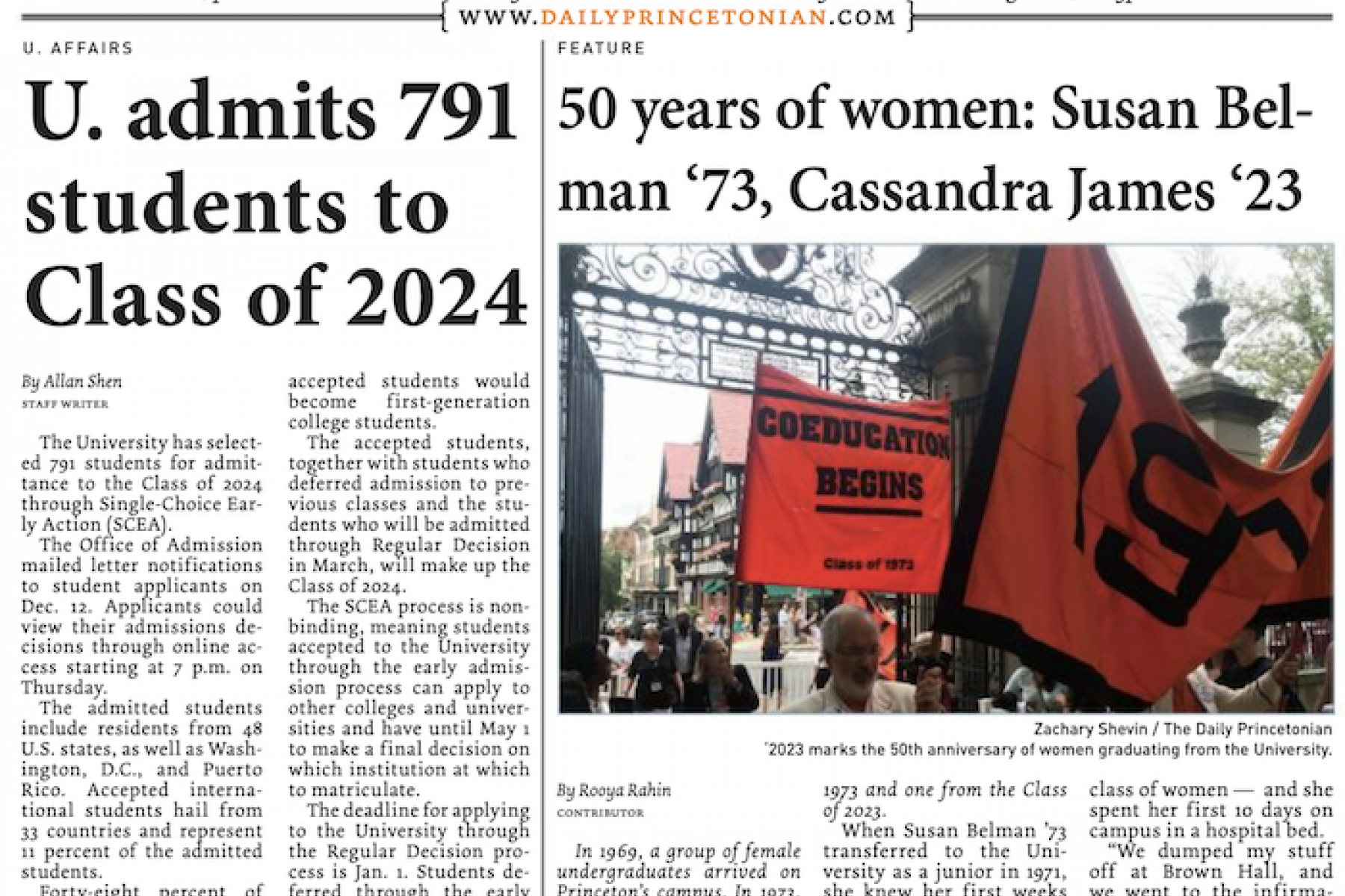 Cover of the Daily Princetonian with an article about 791 students admitted early action to Class of 2024 and a feature on 50 years of women at Princeton