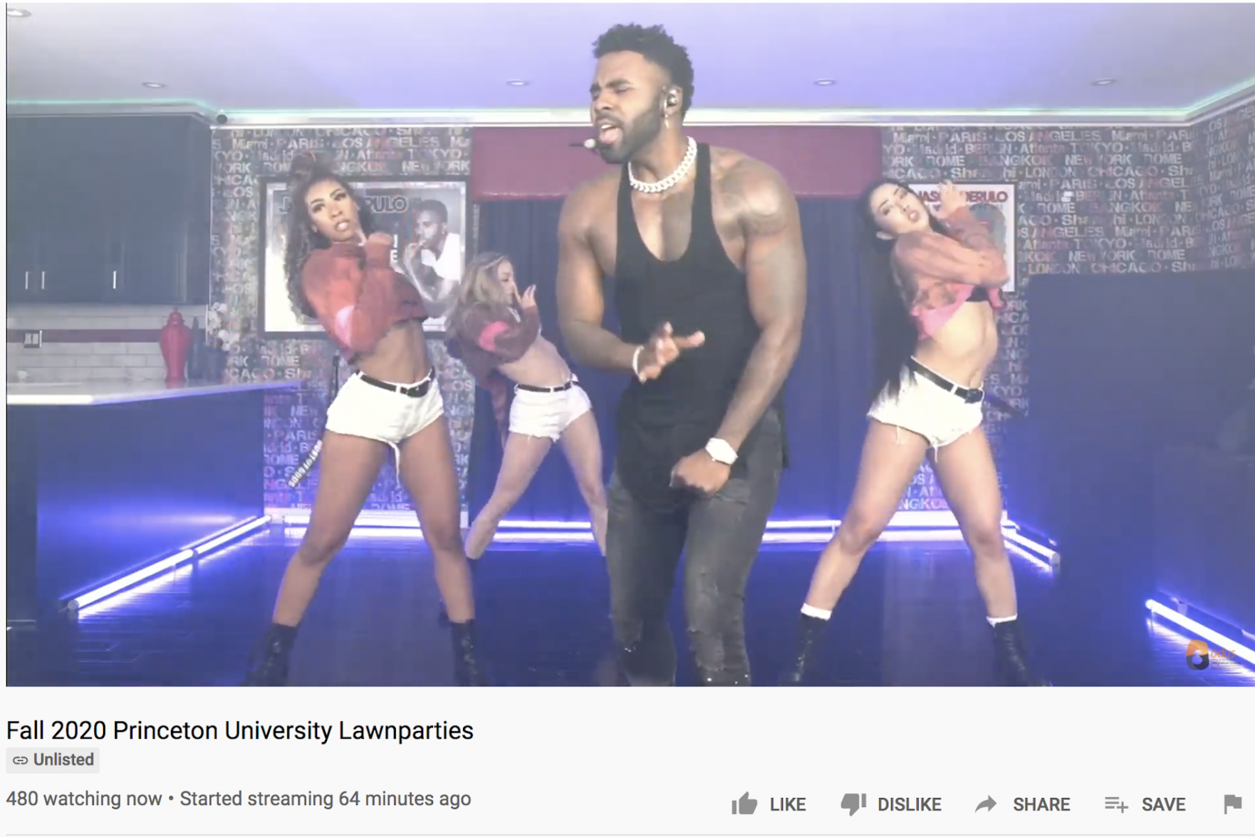 Screenshot of Fall 2020 Lawnparties featuring Jason Derulo and three female backup fancers