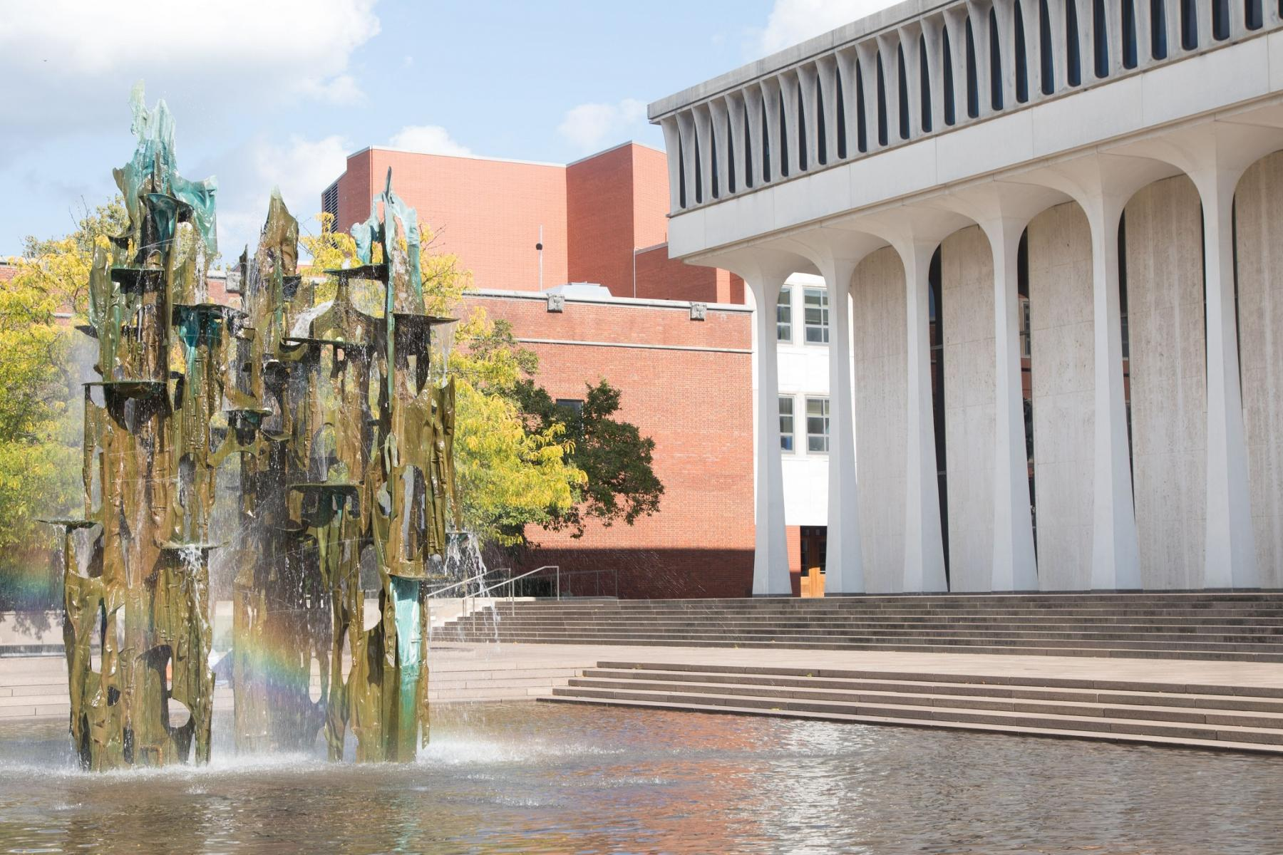 Robertson Hall and fountain