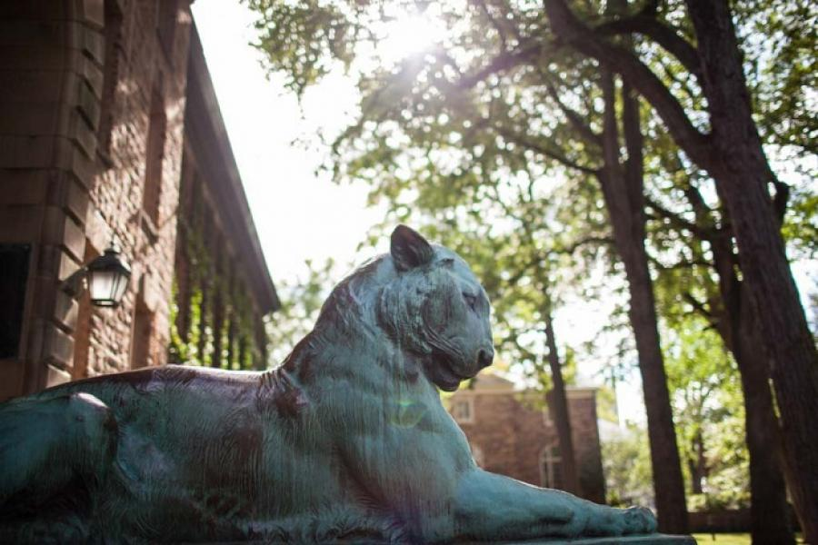 Tiger statue in front of Nassau Hall