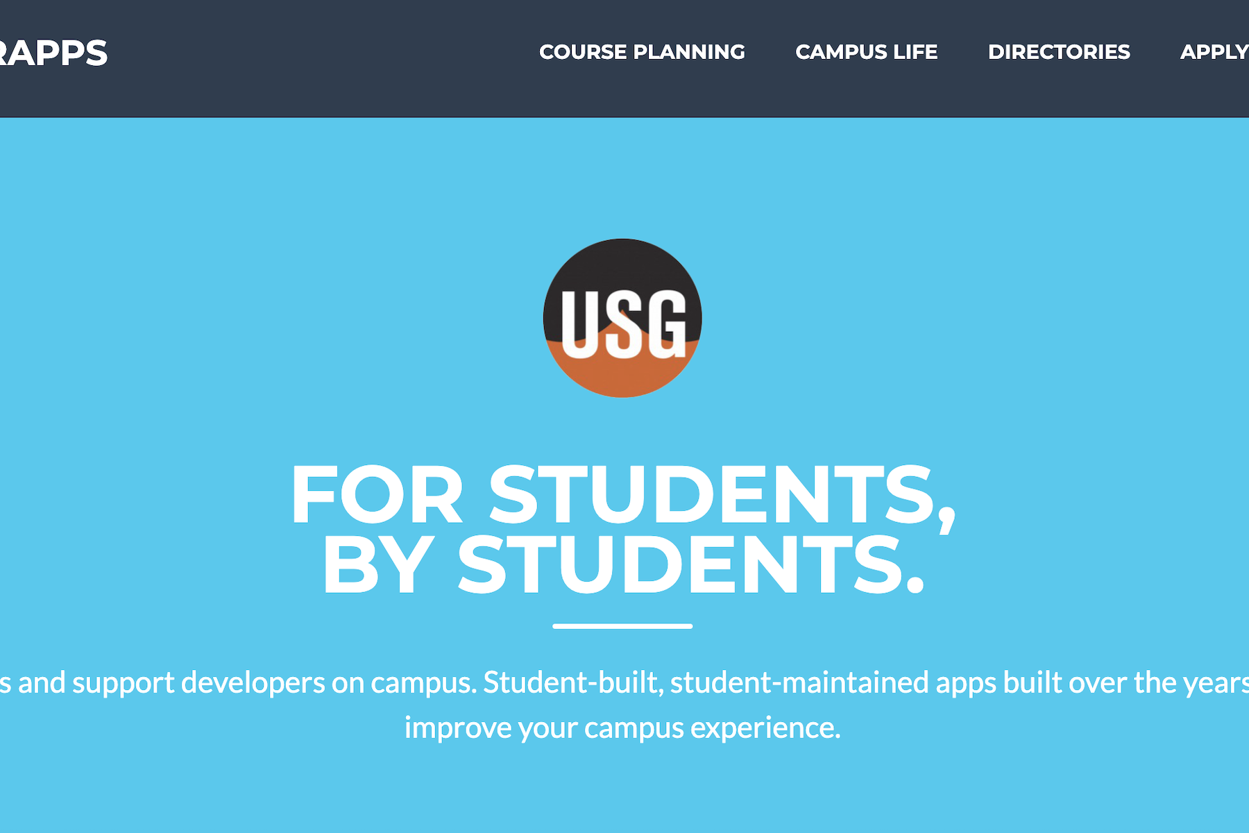 The TigerApps homepage. It says: For students, by students. We build apps and support developers on campus. Student-built, student-maintained apps built over the years, designed to improve your campus experience.