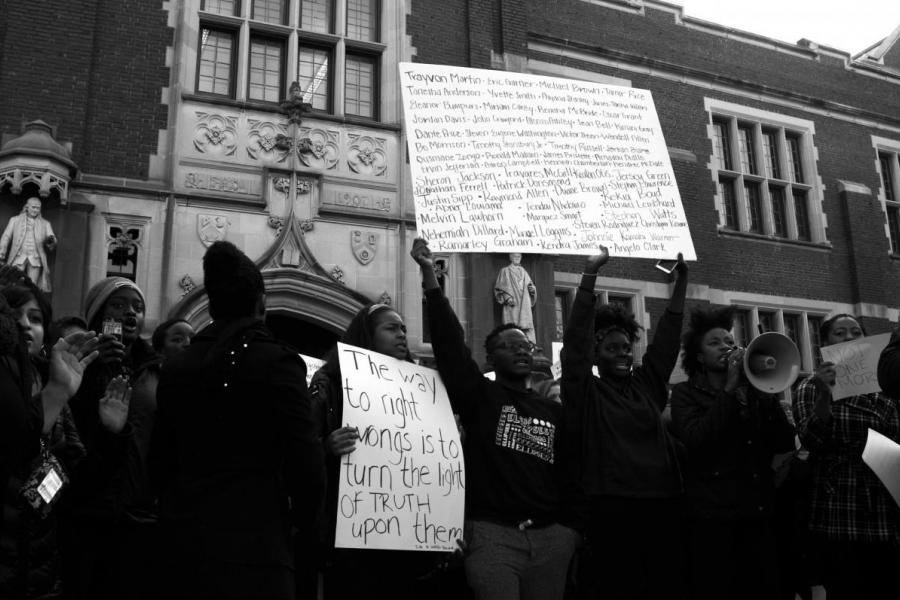 Students protesting racialized violence in front of Frist Campus Center at Princeton University