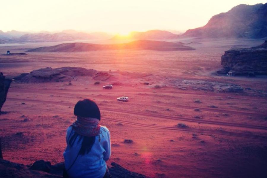 A moment of thought in Wadi Rum, Jordan