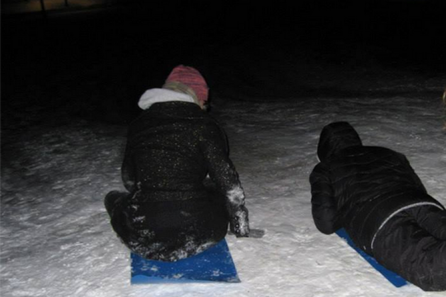 Sledding on Whitman hill