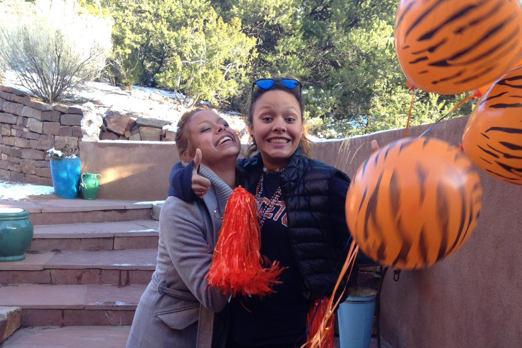 My sister and I celebrate my Princeton Admission