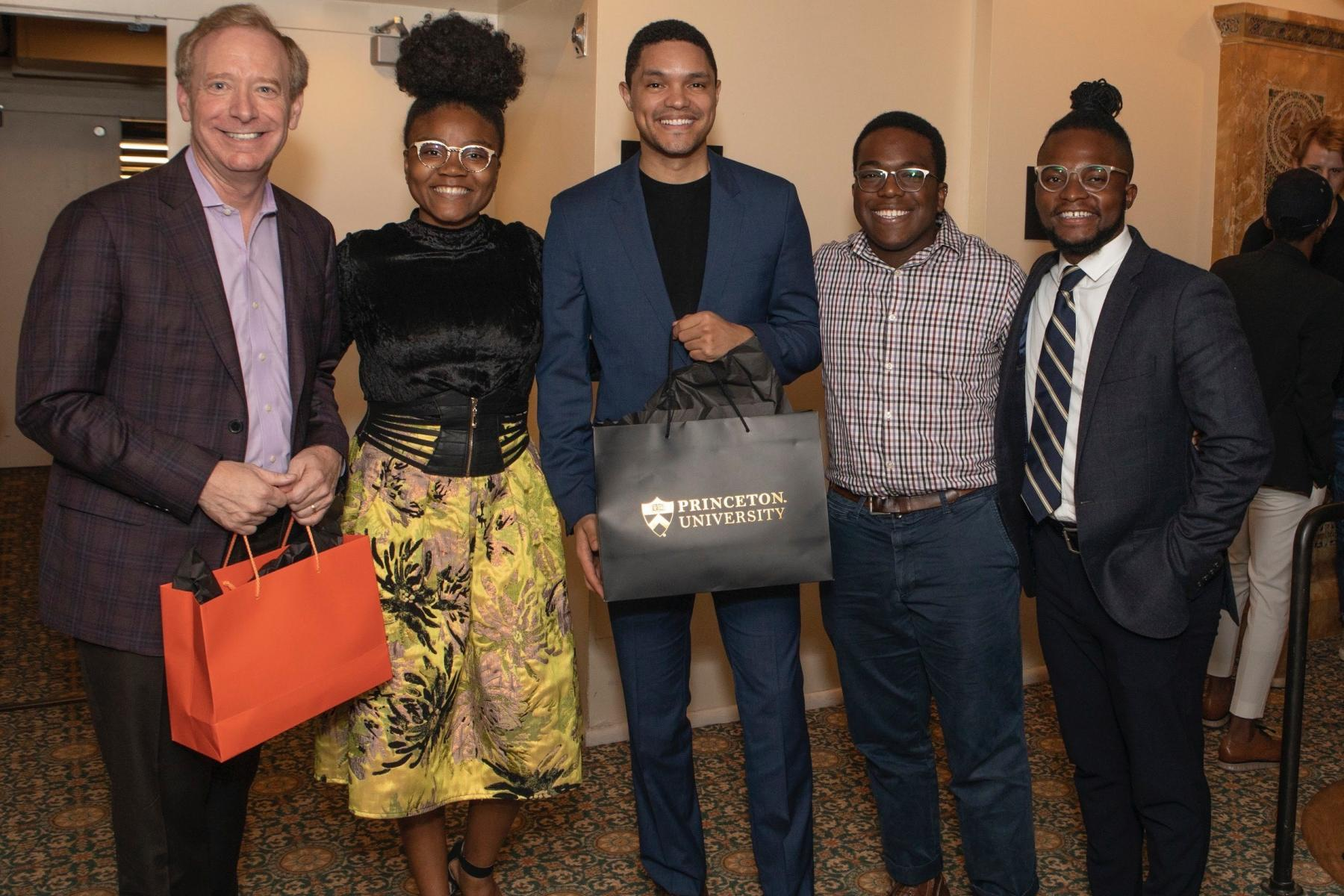Princeton alumni and students with Brad Smith '81 and Trevor Noah.