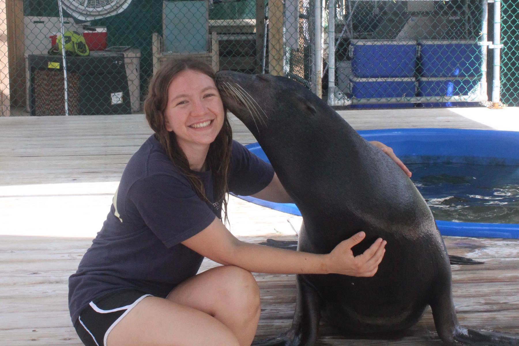 Michelle and Grommet the Sea Lion