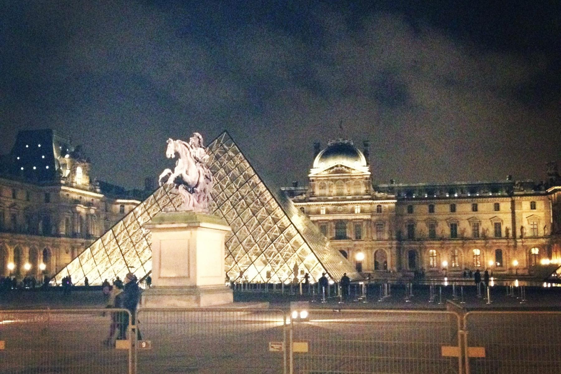A beautiful image of the Louvre at night, with the I.M. Pei pyramid in front.