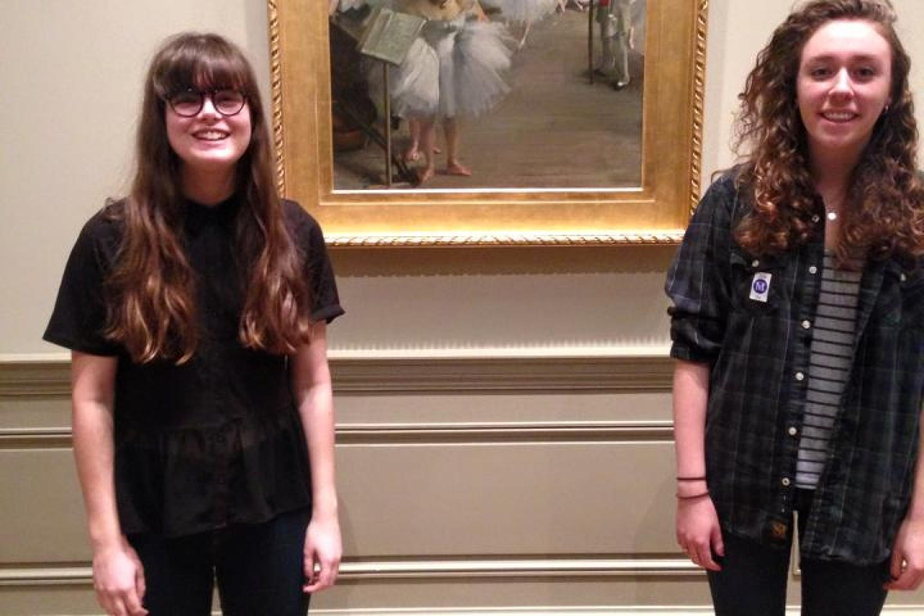 Lauren, Anna, and a Degas painting.