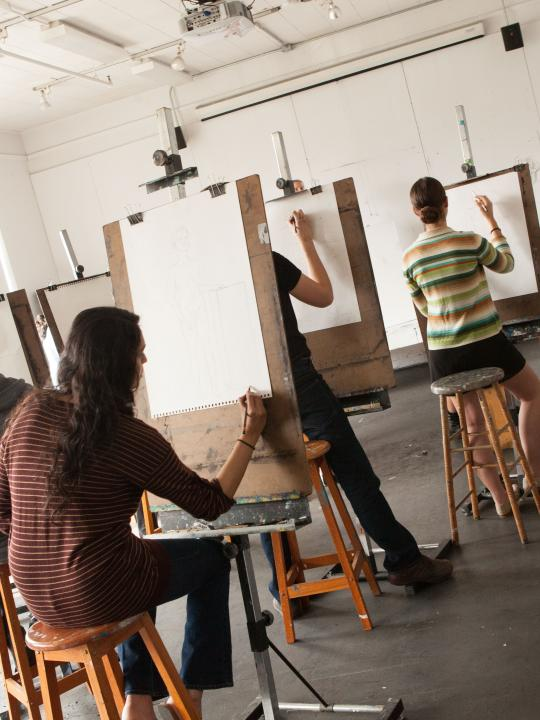 Students Painting in Arts Studio