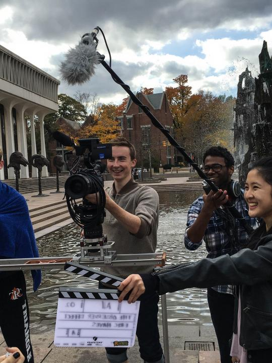 Students filming on campus