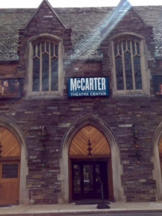 Photo of the entrance to the  McCarter Theater  just across the street from campus.